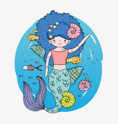 Cute mermaid woman with shells and snails vector
