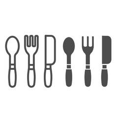 cutlery line and glyph icon kitchen tools vector image