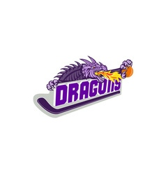 Dragon Fire Hockey Stick Basketball Retro vector