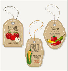eco green stamp labels of healthy organic food vector image