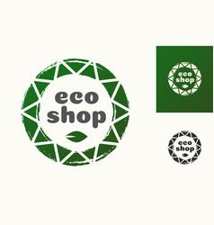eco shop logo with leaf vector image