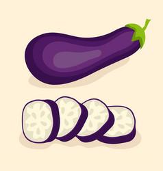 eggplant vegetable isolated set vector image