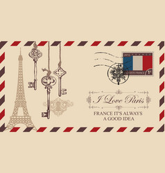 envelope or postcard with eiffel tower vector image