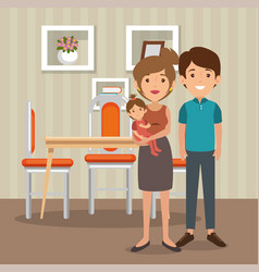 Family parents in dinning room scene vector
