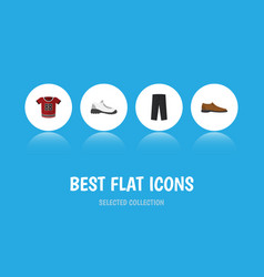 flat icon dress set of t-shirt male footware vector image