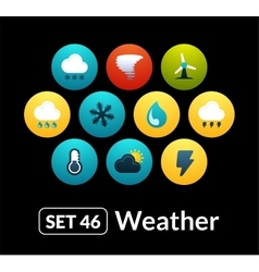 Flat icons set 46 - weather collection vector image
