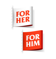 for her and for him labels vector image