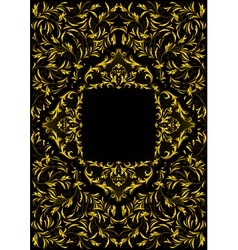 Frame with golden floral ornament vector image
