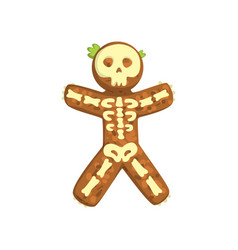 Gingerbread man looks like skeleton christmas vector