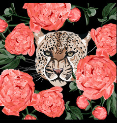graceful leopard and tropical flowers vector image