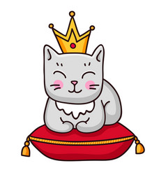 gray cat with crown vector image