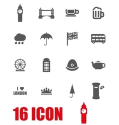 grey london icon set vector image