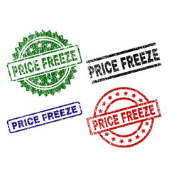 Grunge textured price freeze seal stamps vector