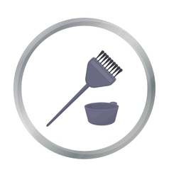 Hair coloring brush icon in cartoon style isolated vector