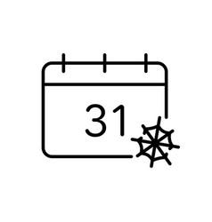 Halloween calendar with spider web line icon date vector