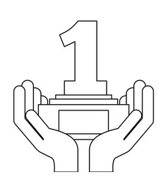 hands holding award trophy number one vector image