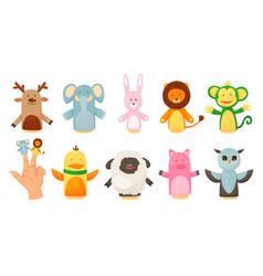 Hands or finger puppets play dolls collection vector