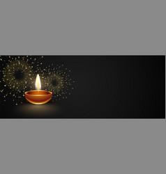 Happy diwali dark banner with diya and fireworks vector