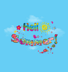 hello summer cartoon lettering typography with vector image