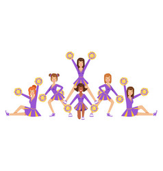 High-school profession cheerleading teams of girls vector