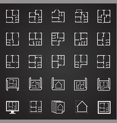 Home blueprint icon on black background for vector
