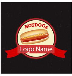hotdogs logo name circle ribbon black background v vector image