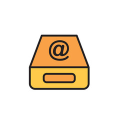 inbox flat icon sign symbol vector image