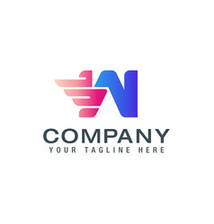 initial w wings logo logo design template vector image