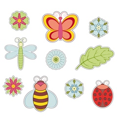 Insect and flower vector