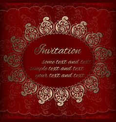 invitation card with golden royal ornaments vector image