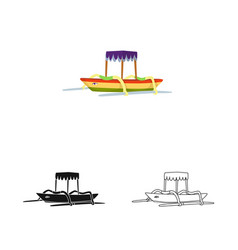 Isolated object boat and sail icon collection vector