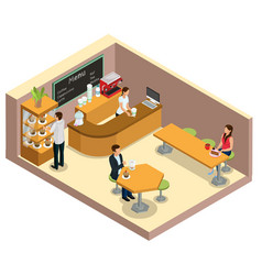 isometric coffee shop interior concept vector image
