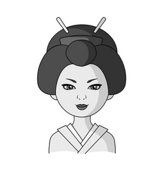 Japanesehuman race single icon in monochrome vector