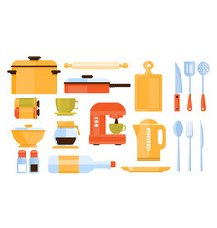 kitchen equipment collection of icons vector image