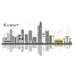 Kuwait city skyline with gray buildings and vector