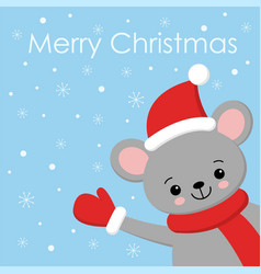 little cute mouse in a red santa s cap and scarf vector image