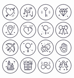 love line icons concept set happy valentine day vector image