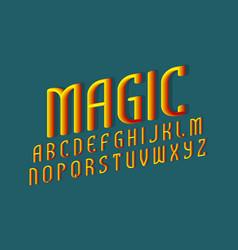 Magic alphabet yellow red gradient 3d letters vector