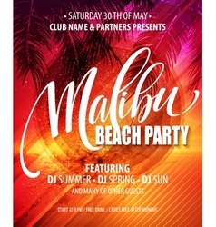 Malibu Beach Party poster Tropical background vector