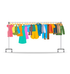 Men and women casual clothes on hanger rack vector