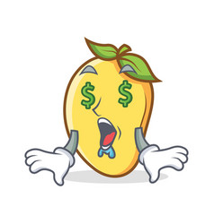 money eye mango character cartoon mascot vector image