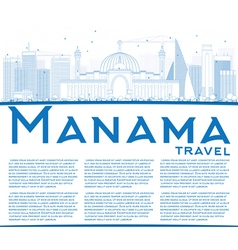 Outline Manama Skyline with Blue Buildings vector image