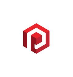 p logo hexagon icon vector image