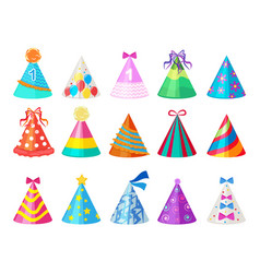 Party colored caps birthday cone hat for carnival vector
