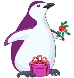 penguin with gift and rose vector image