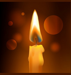 realistic flame wax church candle on dark vector image
