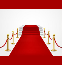 Red carpet grand opening golden metal barriers vector
