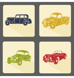 Retro car icon set vector
