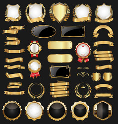 Retro vintage gold and black badges and labels vector