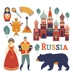 russia icons set collection russian vector image
